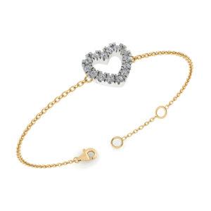 14 Karat Guld Armbånd fra Henrik Ørsnes Design med Hvidguldsvedhæng og Diamanter 0,24 Carat W/SI