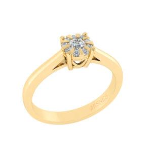 14 Karat Guld Ring fra Henrik Ørsnes Design med Brillanter 0,40 Carat W/SI
