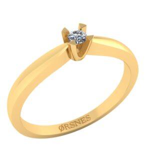 14 Karat Guld Ring fra Henrik Ørsnes Design med Diamant 0,05 Carat W/SI