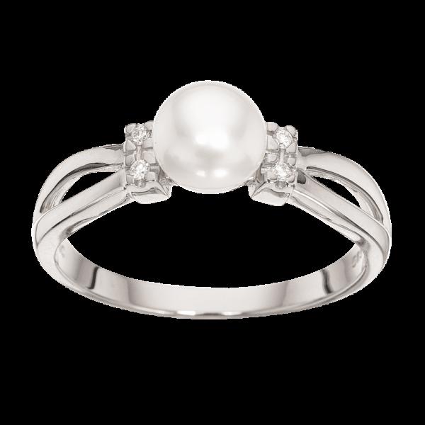 14 Karat Guld Ring fra Scrouples med Ferskvandsperle og Brillant 0,04 Carat W/SI