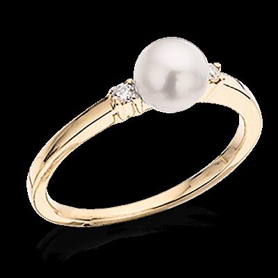 14 Karat Guld Ring fra Scrouples med Perle og Brillanter 0,04 Carat W/SI