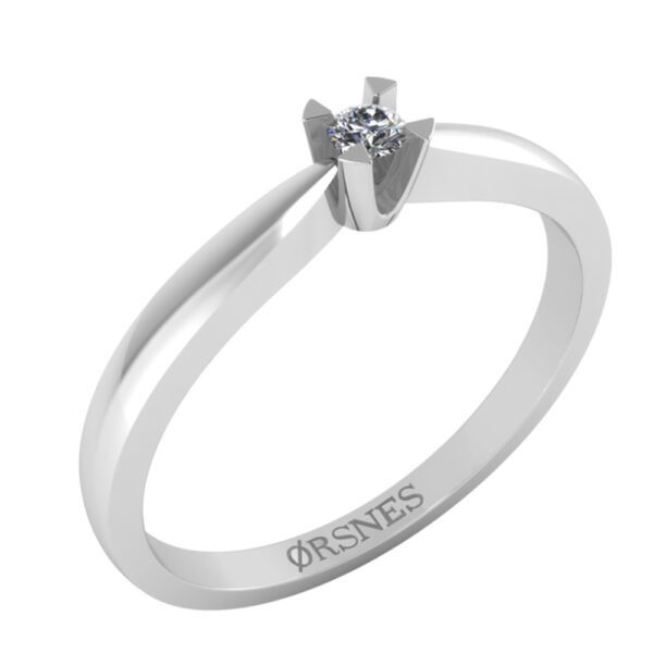 14 Karat Hvidguld Ring fra Henrik Ørsnes Design med Brillant 0,05 Carat W/SI