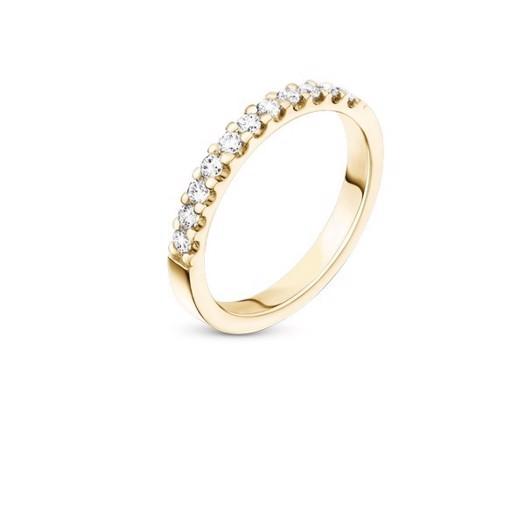 14 kt guld forlovelses ring med 11 klimavenlige diamanter