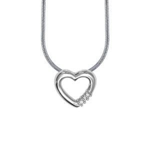14 kt hvidguld vedhæng med diamanter og kæde - 4433414-42K