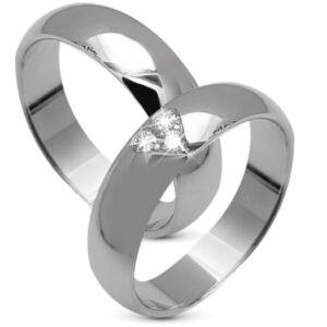 14 kt hvidguld vielsesringe og forlovelses ringe med 3 0,09ct. klimavenlige diamanter