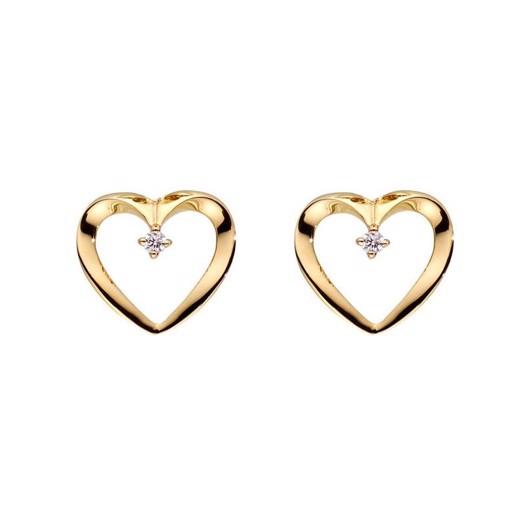14 kt. Guld hjerte ørestikker med 2 brillanter på ialt 0,02ct.*