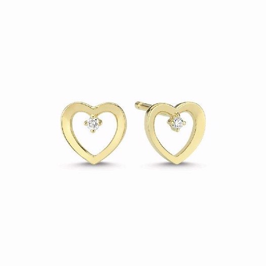14 kt. Guld hjerte ørestikker med 2 x 0,01ct brillanter