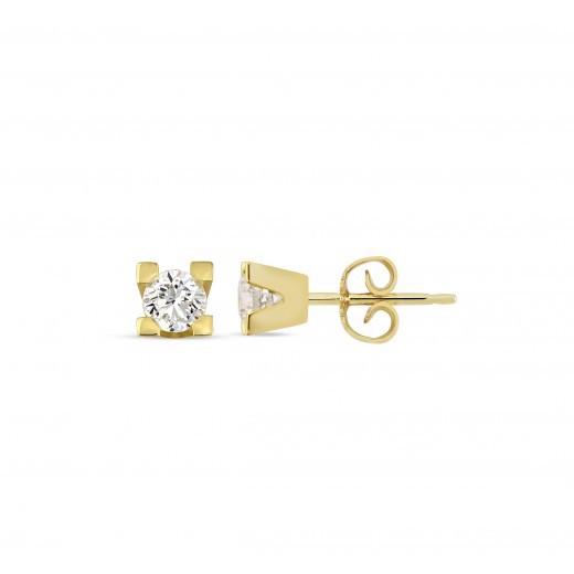 14 kt. Guld øreringe med diamant med 0,35 ct