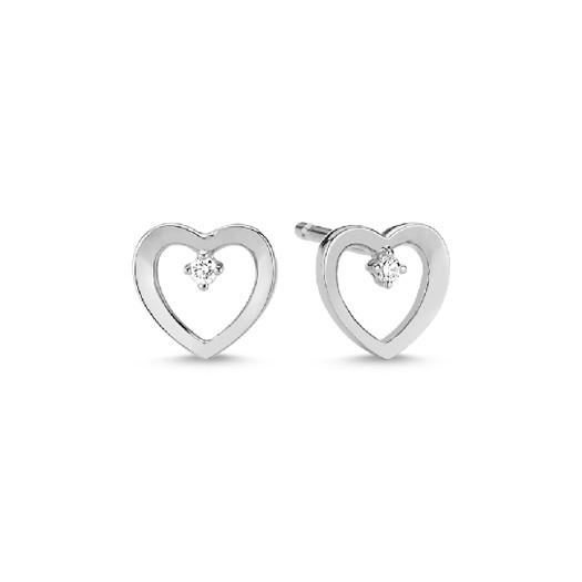 14 kt. Hvidgulds hjerte ørestikker med 2 x 0,01ct brillanter