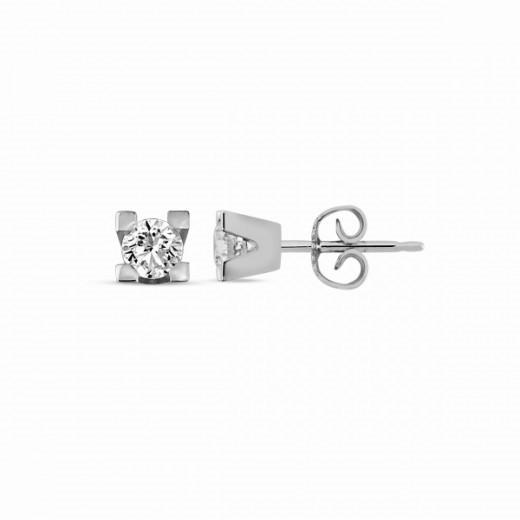 14 kt. hvidguld øreringe med diamant med 0,35 ct