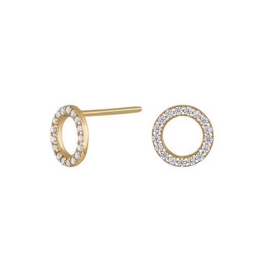 8kt. guld øreringe med zirkonia i cirkel