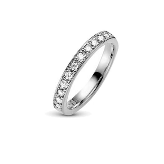 9 kt hvidguld forlovelses ring med 12 klimavenlige brillianter 0,36 kt