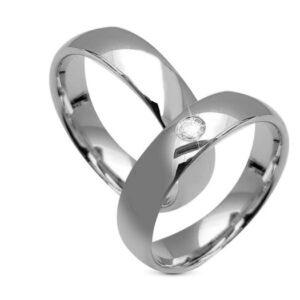 9 kt hvidguld vielses og forlovelses ringe med 1 klimavenlig diamant