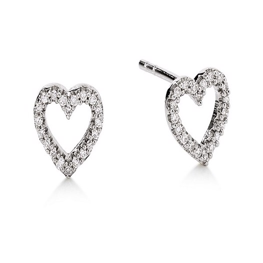 Aagaard hjerteørestikker i 14 kt. hvidguld og diamanter*