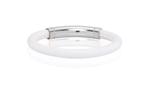Armbånd Musso i hvidt læder (18 cm)