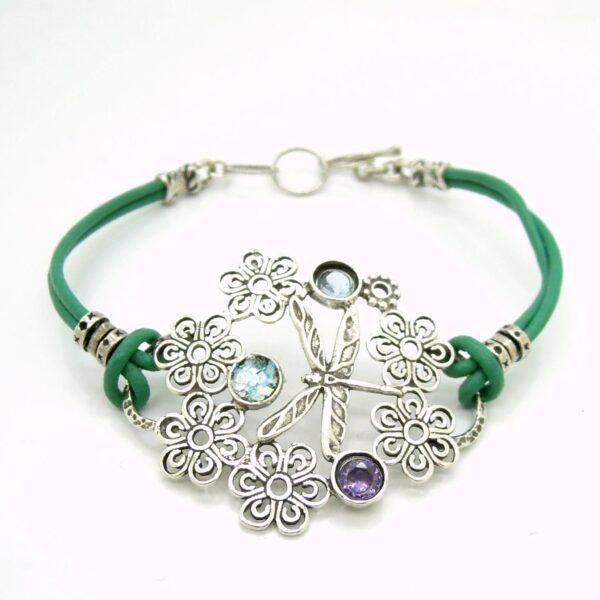 Armbånd med farvede smykkesten - guldsmed og blomsterdesign