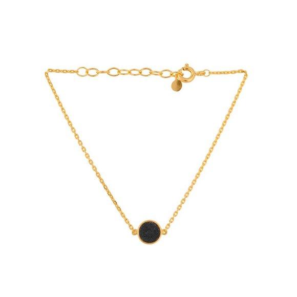 Ash Bracelet 15-18 Cm Forgyldt   Druzy Black Fra Pernille Corydon