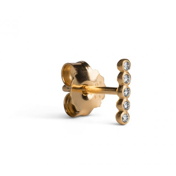 Ball Row Earring W/diamonds   Forgyldt Fra Jane Kønig
