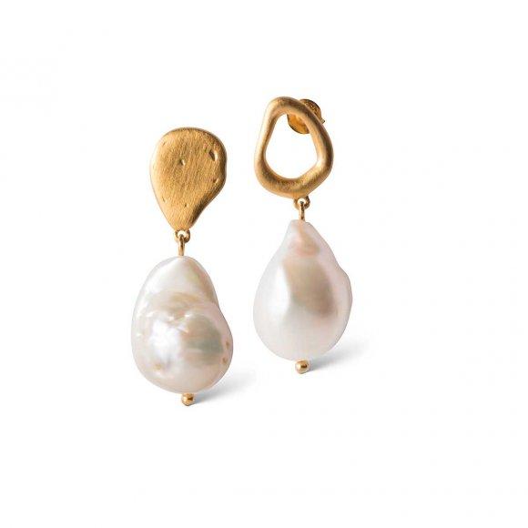 Baroque Pearl Earring   Forgyldt Fra Enamel Copenhagen