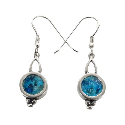 Blå runde øreringe med romersk glas