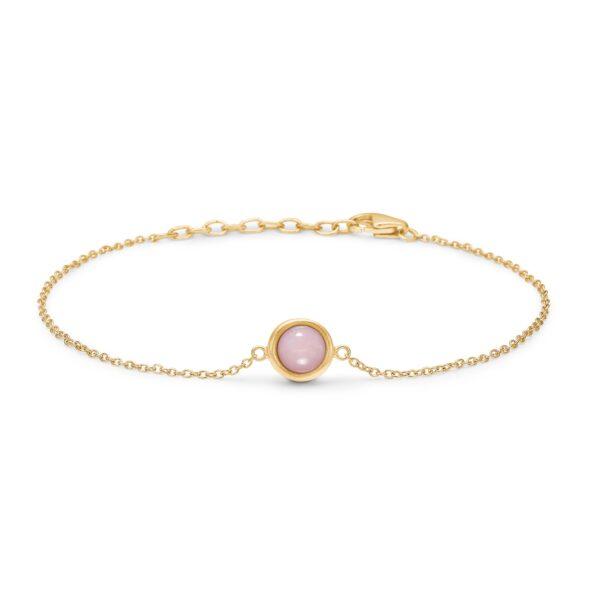 Blossom armbånd i forgyldt med pink opal, 20 cm