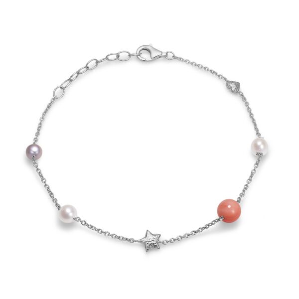 Blossom sølv armbånd med perler og koral