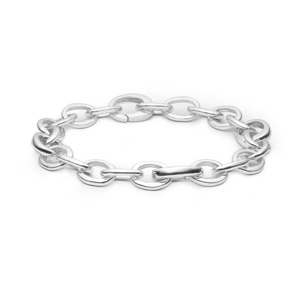Blossom sølv armbånd rhod. blank, 19 cm