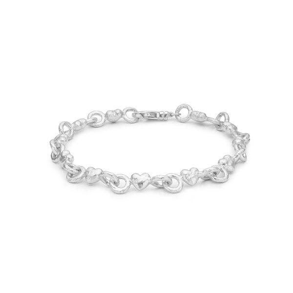 Blossom sølv armbånd rhod. hjerter mat blank 19 cm