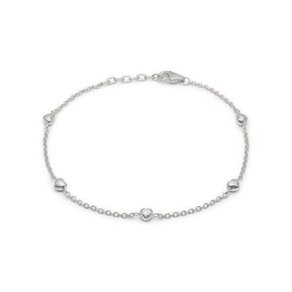 Blossom sølv rhodeneret armbånd med 5 hjerter 17+3 cm