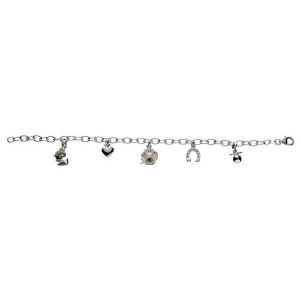Børnearmbånd i sølv med 5 charms