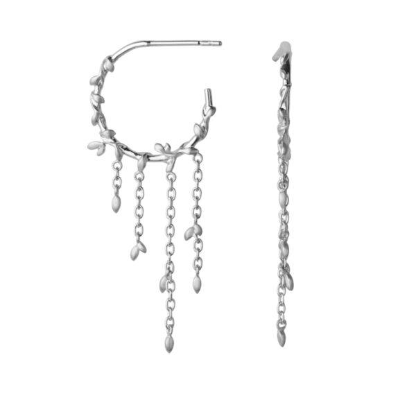 ByBiehl Jungle Ivy Hoop creoler i sølv med kæder