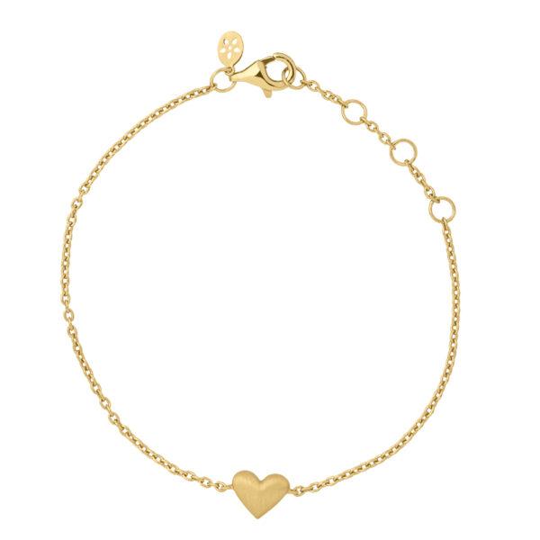 ByBiehl Sweet Love armbånd med et hjerte, forgyldt