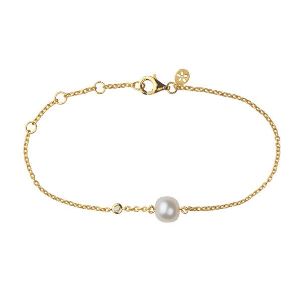 Bybiehl Coco forgyldt armbånd med perle og cubic zirkonia, 19 cm