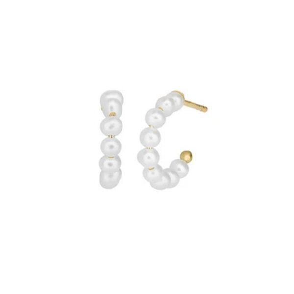 Bybiehl Pearls øreringe lille størrelse i forgyldt, Ø 14 mm