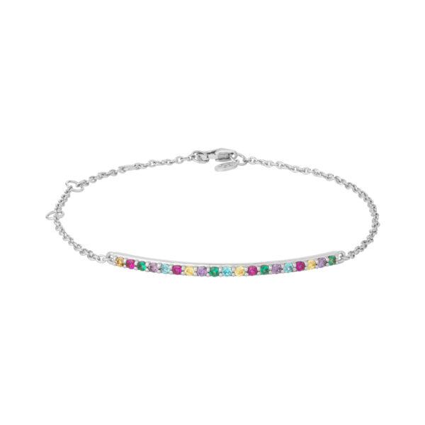 Bybiehl Rainbow Sparkle armbånd i sølv med farvede sten