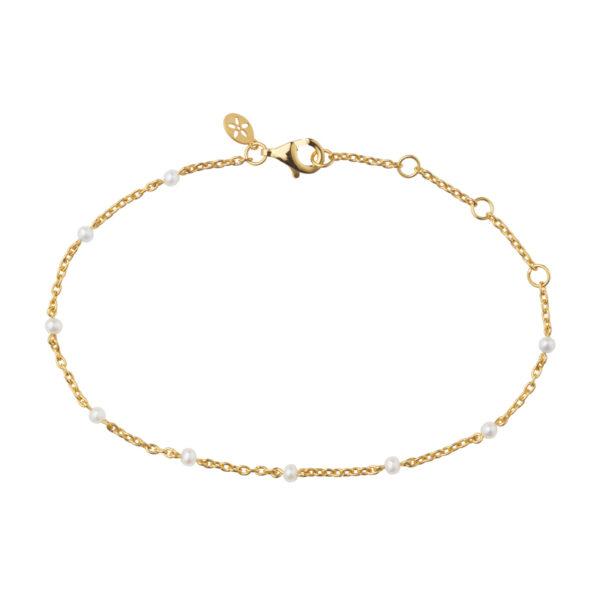 Bybiehl Scarlett forgyldt armbånd med perler, 20 cm