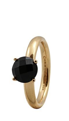 CHRISTINA Forgyldt Sølvring Black Onyx - 3.1B Størrelse 49