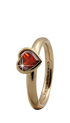 CHRISTINA Forgyldt Sølvring Garnet Big Heart - 3.2B Størrelse 49