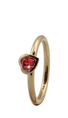 CHRISTINA Forgyldt Sølvring Garnet Heart - 2.6B Størrelse 49