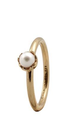 CHRISTINA Forgyldt Sølvring Pearl Flower - 2.2B Størrelse 49