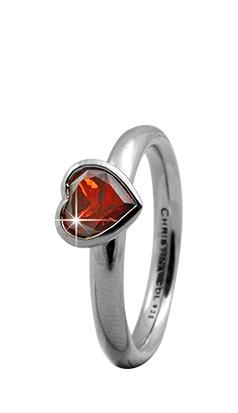 CHRISTINA Sølvring Garnet Big Heart - 3.2A Størrelse 49