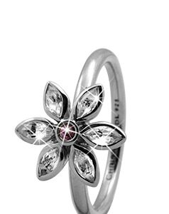 CHRISTINA Sølvring Marquise Flower - 3.6A Størrelse 49