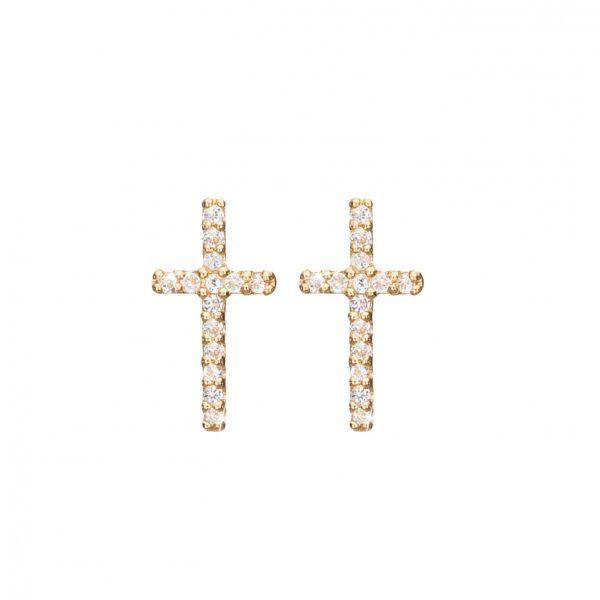 CHRISTINA Sparkling cross ørestikker - 671-G35