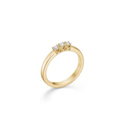 CROWN Alliance Ring I 14 kt. Guld med 3 x brillanter fra 0,04 ct. - 0,09 ct.