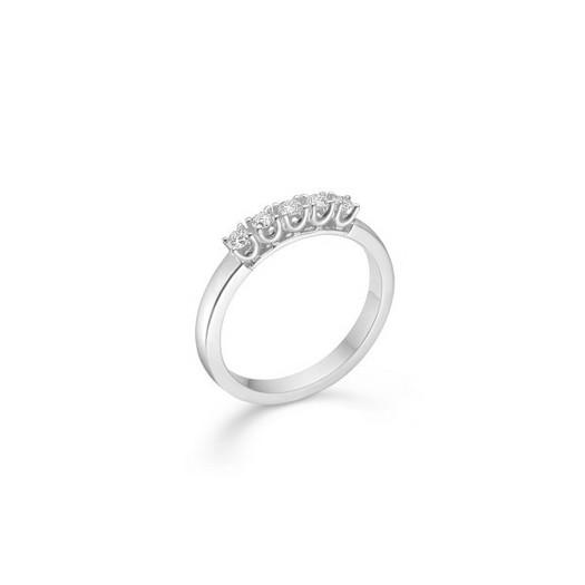 CROWN Alliance Ring I 14 kt. Hvidguld med 5 x diamanter fra 0,04 ct. - 0,09 ct.