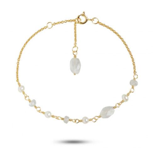 Carré armbånd i forgyldt med regnbue månesten og perler