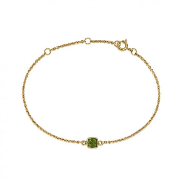 Carré forgyldt armbånd med grøn Chrom Diopsid