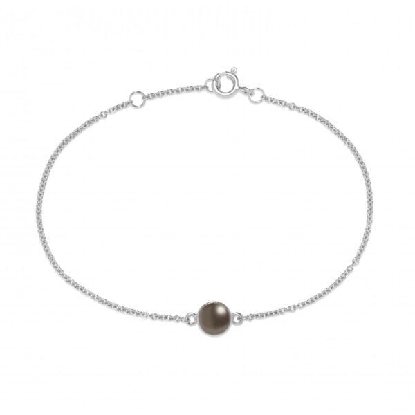 Carré sølv armbånd med grå månesten