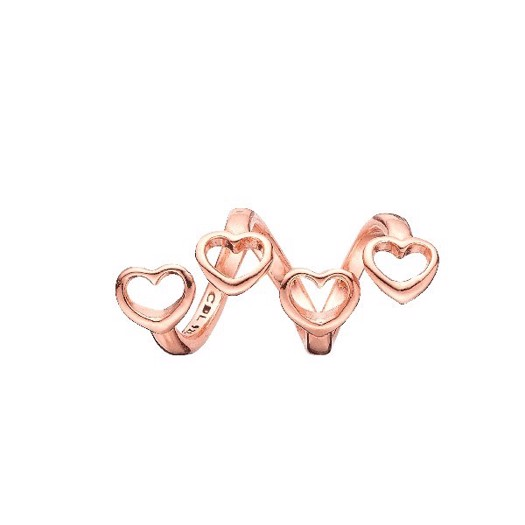 Christina Collect - Rosa forgyldt charm FAMILY HEARTS
