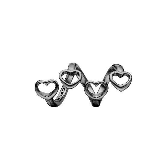 Christina Collect - Sort sølv charm FAMILY HEARTS